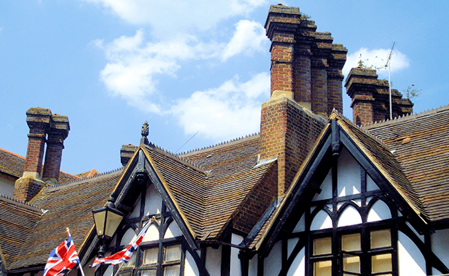 Roof and chimneys of tudor-styled property in Rickmansworth